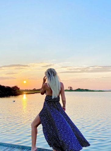 Maxi polka-dot halter top silk dress