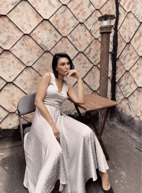 Best Seller! Polka Dot Print Flair Silk Dress
