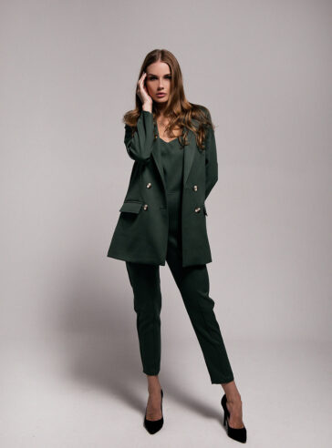 Forest Green Wool Flannel Jumpsuit with Blazer