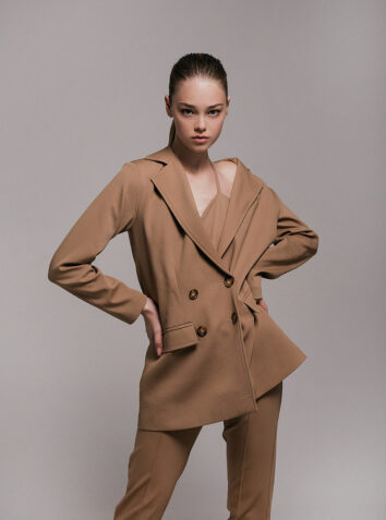 Taupe Wool Flannel Jumpsuit with Blazer