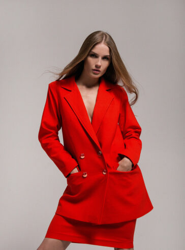 Scarlet Red Wool Flannel Skirt Suit