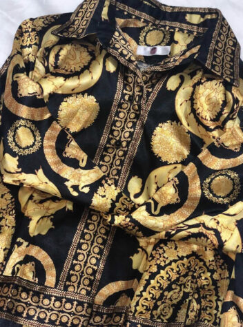 Baroque Print Wrap Dress in Versace Style