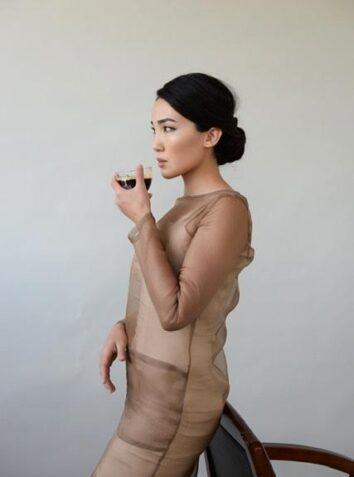 Sheer Silk Organza Dress Set Espresso