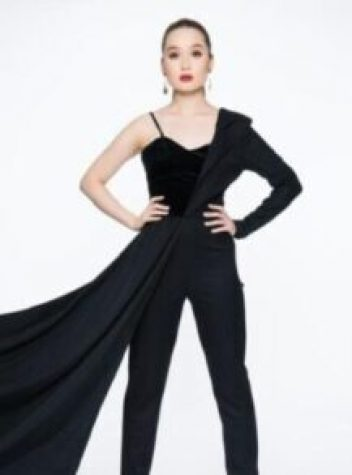 Black Asymmetric Wool/Silk Chiffon Halfsuit