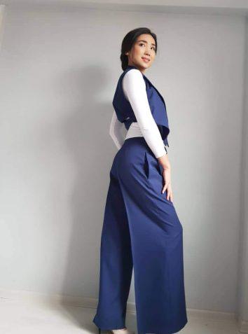Royal Blue Wide Pants And Asymmetrical Vest Suit