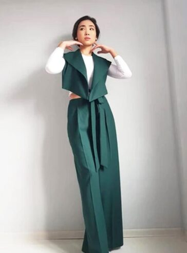 Emerald Green Wide Pants And Asymmetrical Vest Suit