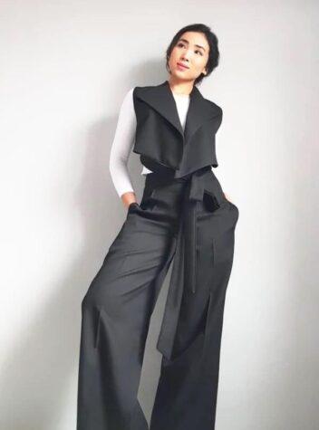 Black Wide Pants And Asymmetrical Vest Suit
