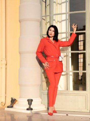 Scarlet Red Wool Flannel Pant Suit -BESTSELLER!