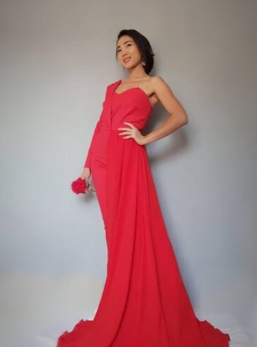 Red Asymmetric Wool/ Silk Chiffon Halfsuit