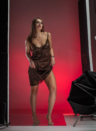 Chocolate sleek satin chemise with asymmetric lace trimming