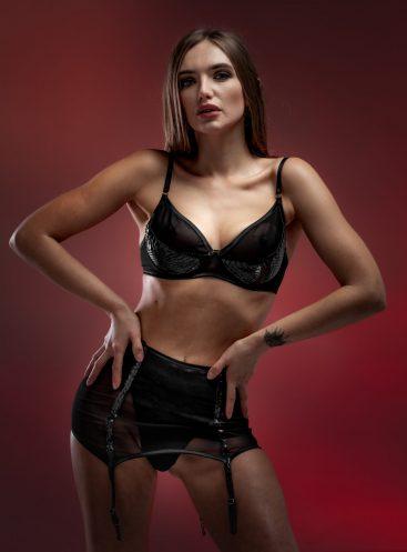 Limited Edition Black Python skin decadent bra, panties and garter belt set