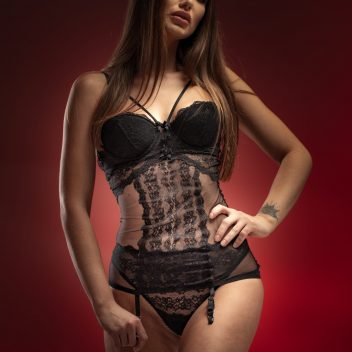 Underwire lace chemise with built-in bra and suspenders