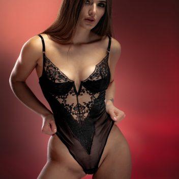 Cassandra lace plunging V-neckline bodysuit